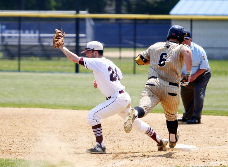 St. Joe's Prep's John Coppola gets the out at first with time to spare.