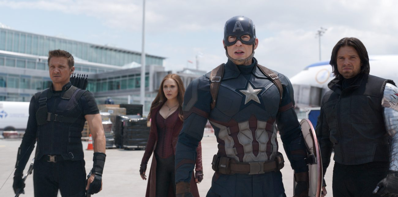 "Jeremy Renner, Elizabeth Olsen, Chris Evans and Sebastian Stan star in a scene from the movie ""Marvel's Captain America: Civil War."" (CNS photo/Disney)"