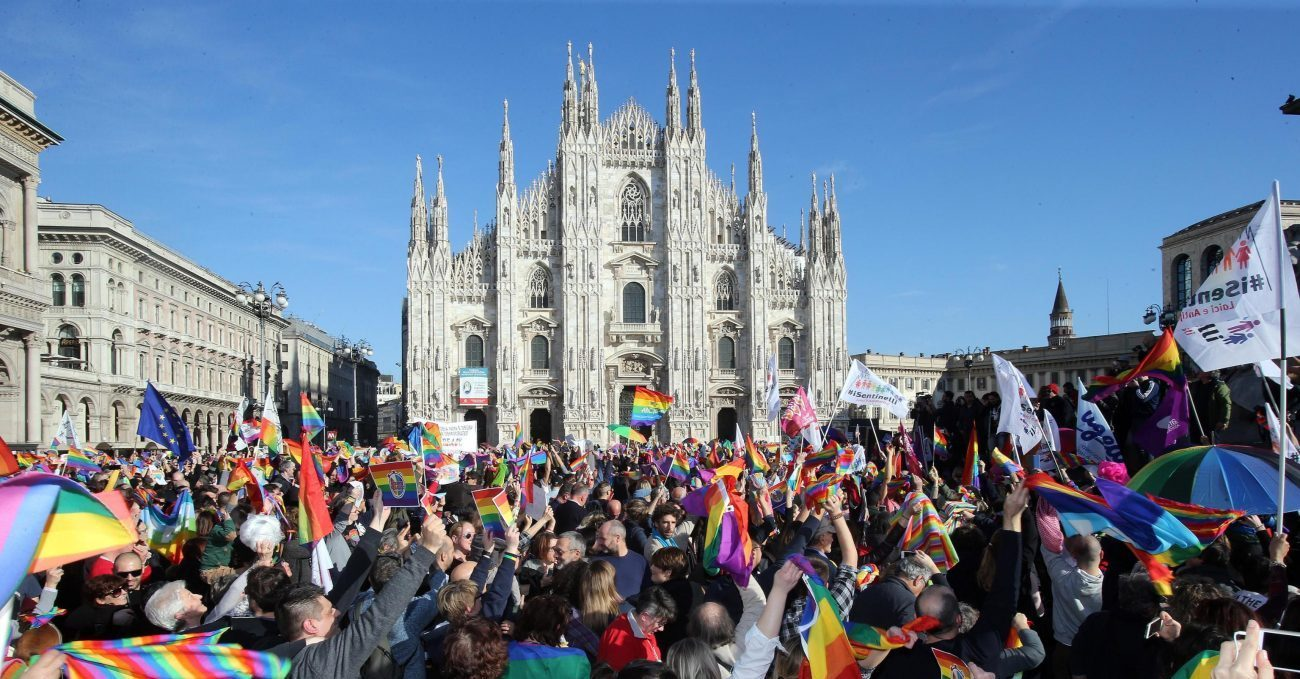 Demonstrators take part in a protest for gay rights in late February outside Italy's Milan Cathedral. (CNS photo/Matteo Bazzi, EPA)