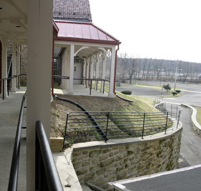 A view from the motherhouse shows the proximity of the Bensalem property along Route 13 and Interstate 95 to the rear. (Sarah Webb)