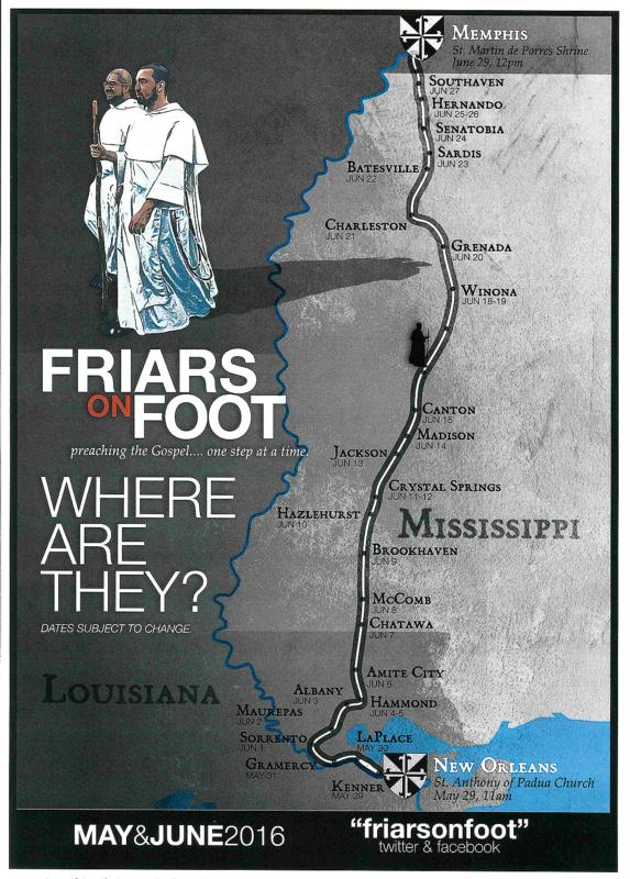 Dominican Fathers Francis Orozco and Thomas Schaefgen, depicted in an illustration, will begin their 478-mile, one-month pilgrimage from New Orleans to Memphis, Tenn., May 29. (CNS illustration/courtesy Southern Dominican Province)