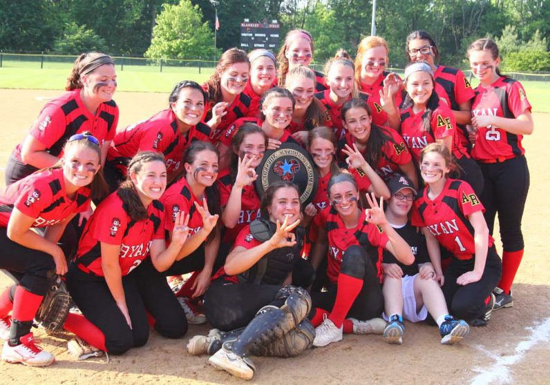 Archbishop Ryan's girls celebrate their third straight Catholic League championship.