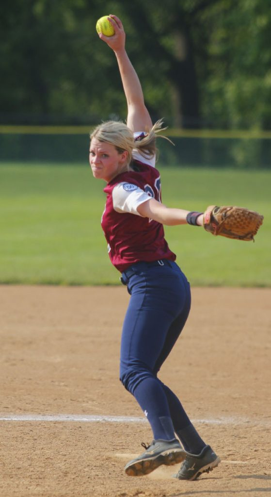 Mary Pat Brough delivers a pitch for Cardinal O'Hara in the Catholic League title game May 25 at Arcadia University.