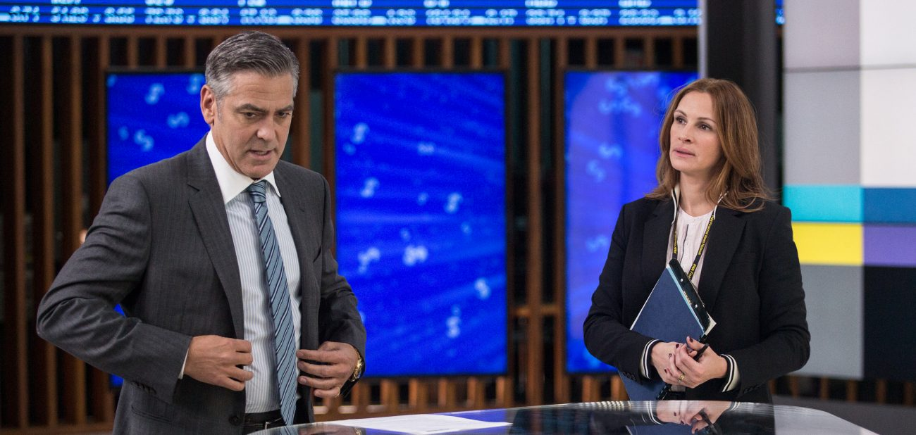 "Julia Roberts and George Clooney star in a scene from the movie ""Money Monster."" The Catholic News Service classification is A-III -- adults. The Motion Picture Association of America rating is R -- restricted. Under 17 requires accompanying parent or adult guardian.(CNS photo/Sony) See MOVIE-REVIEW-MONEY-MONSTER May 12, 2016."