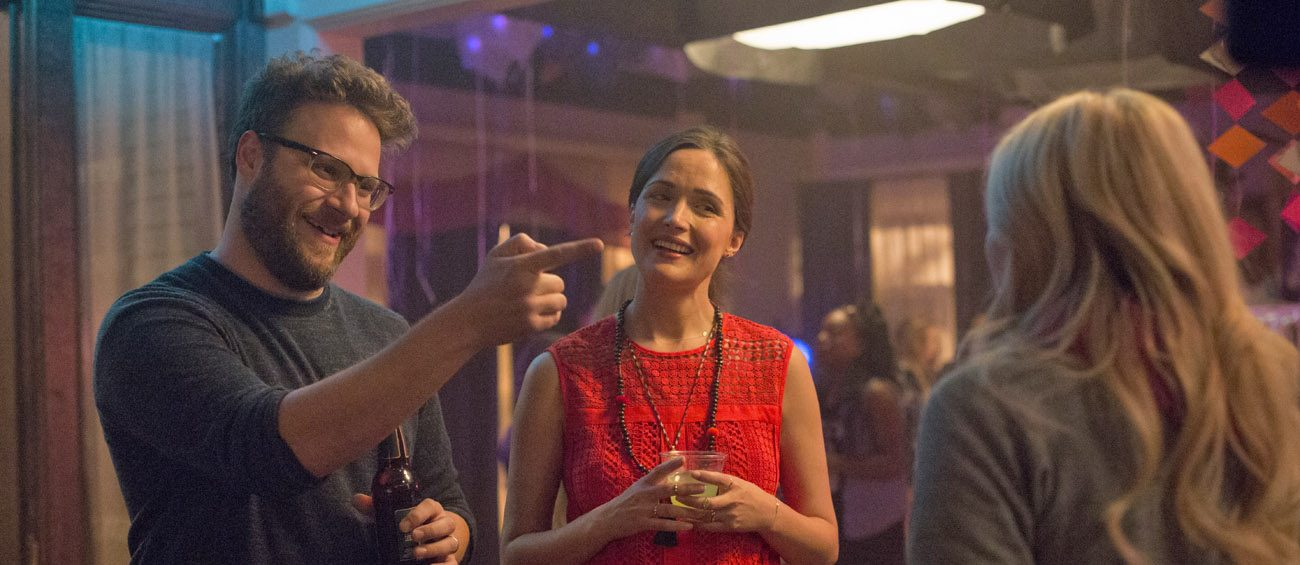 "Seth Rogen, Rose Byrne and Chloe Grace Moretz star in a scene from the movie ""Neighbors 2: Sorority Rising."" (CNS photo/Universal)"