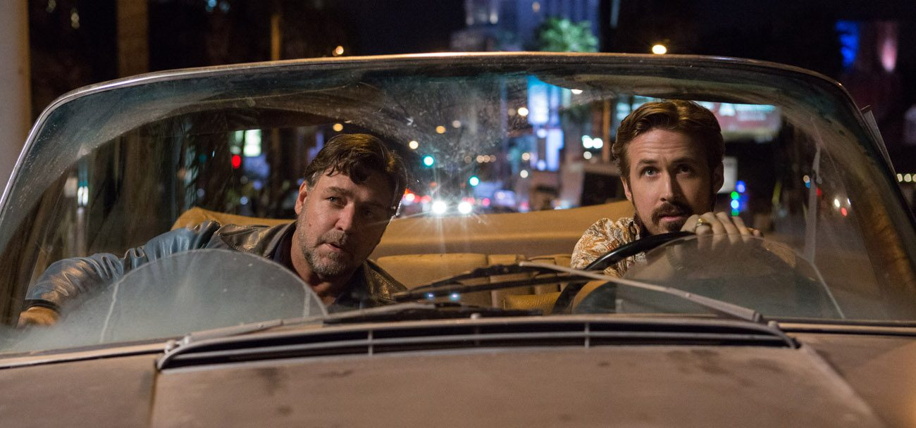 "Russell Crowe and Ryan Gosling star in a scene from the movie ""The Nice Guys."" (CNS photo/Warner Bros.)"