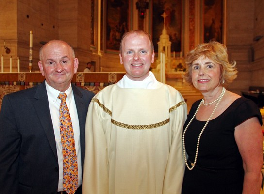 Frank and Marie Windle stand with their son Matt at St. Charles Borromeo Seminary in May 2015. Sarah Webb)