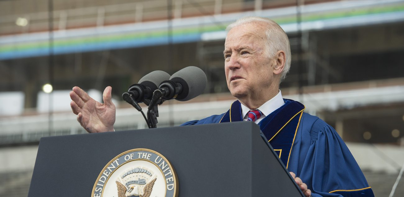 U.S. Vice President Joe Biden delivers an address after receiving the Laetare Medal during the 2016 commencement ceremony May 15 at Notre Dame Stadium in Indiana. (CNS photo/Barbara Johnston, University of Notre Dame)