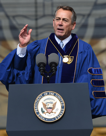 Former House Speaker John Boehner delivers an address after receiving the Laetare Medal during the 2016 commencement ceremony May 15 at Notre Dame Stadium in Indiana. (CNS photo/Barbara Johnston, University of Notre Dame) See NOTRE-DAME-LAETARE May 16, 2016.(CNS photo/Barbara Johnston, University of Notre Dame) See NOTRE-DAME-LAETARE May 16, 2016.