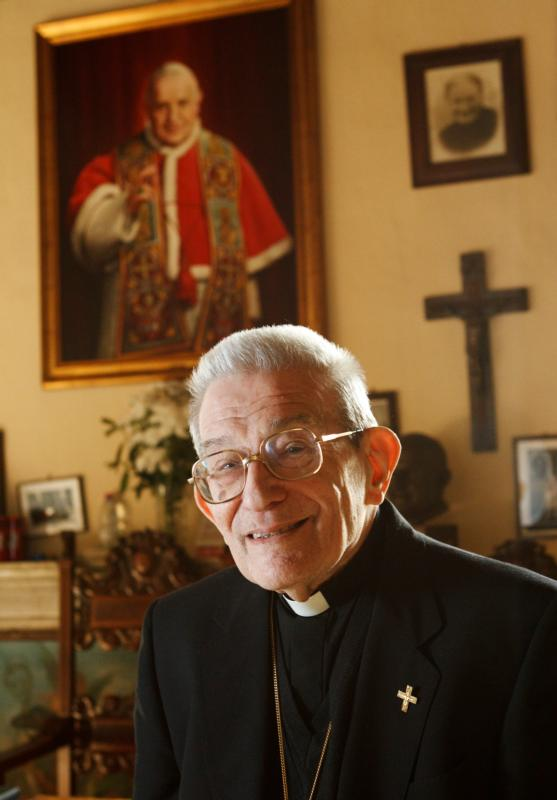 Italian Cardinal Loris Capovilla, who served St. John XXIII before and after he became pope, died May 26 at the age of 100 in Bergamo, near Milan. He is pictured in a 2012 photo. (CNS photo/Paul Haring)
