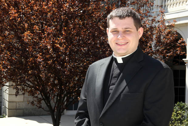 Rev. Mr. Thomas O'Donald, a transitional deacon shown at St. Charles Borromeo Seminary, is preparing for his May 21 ordination to the priesthood. (Photo by Sarah Webb)