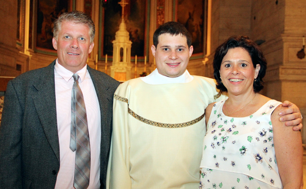 Parents Thomas and Joanne O'Donald stand with their son Thomas at his ordination as a transitional deacon in May 2015 at St. Charles Borromeo Seminary. (Sarah Webb)
