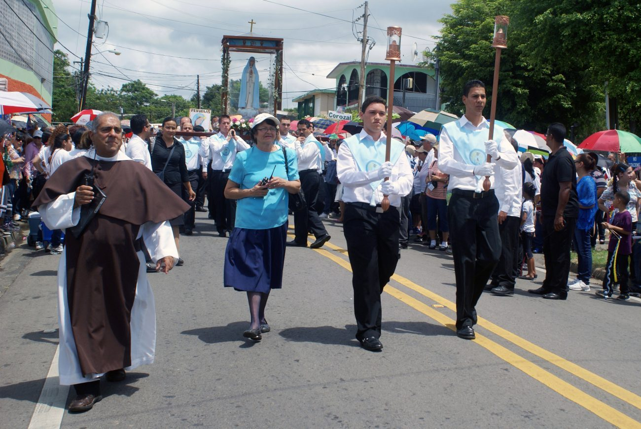 Members of the Our Lady of the Spring Devotee Association celebrate in 2013 the 60th anniversary of the supposed apparitions of Mary in Sabana Grande, Puerto Rico in 1953. (CNS photo/Wallice J. de la Vega)