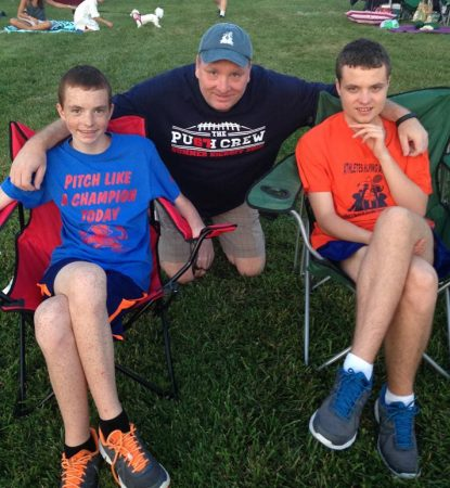 The Milligan men, Conor, Steve and Jack, enjoy a sunny day on July 4, 2015.