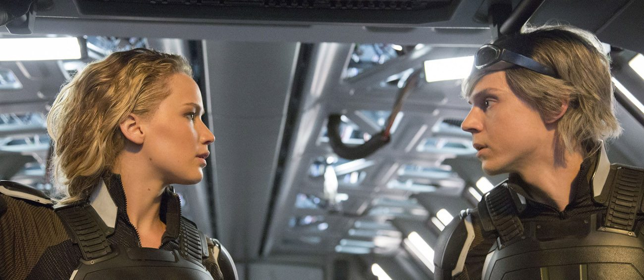 "Jennifer Lawrence and Evan Peters star in a scene from the movie ""X-Men Apocalypse."" (CNS photo/Fox)"
