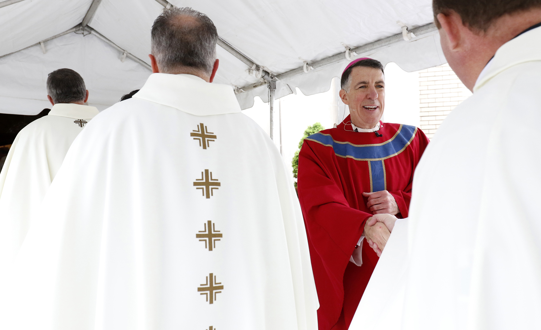 Bishop James F. Checchio greets priests prior to his episcopal ordination and installation as fifth bishop of Metuchen, N.J., May 3 at Sacred Heart Church in South Plainfield, N.J. (CNS photo/Gregory A. Shemitz)