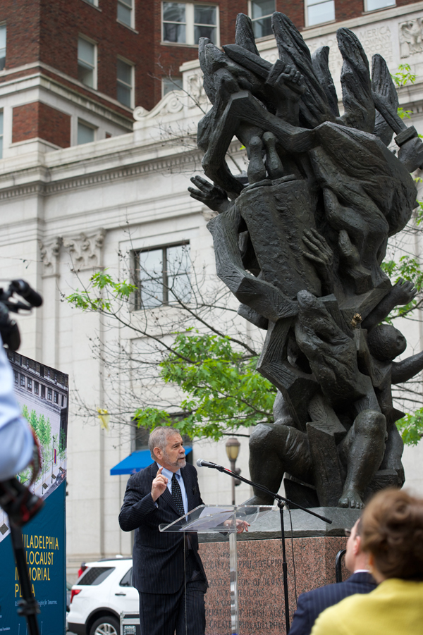 Rabbi and author Michael Berenbaum announces plans for a new public plaza in center city at the foot of the existing Holocaust monument. (Bradley Digital)