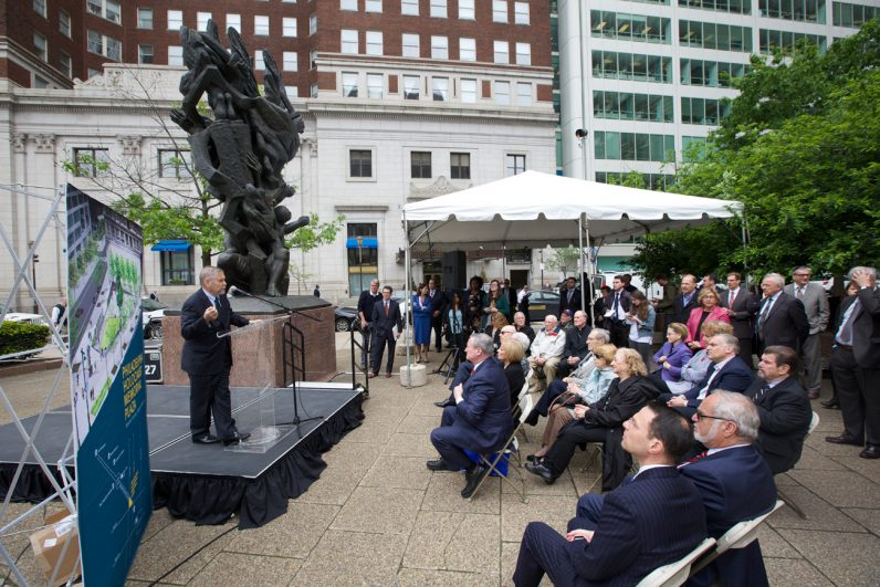 Rabbi and Holocaust expert Michael Berenbaum addresses a crowd at the site of a proposed new public space for visitors to reflect on the Holocaust. (Bradley Digital)