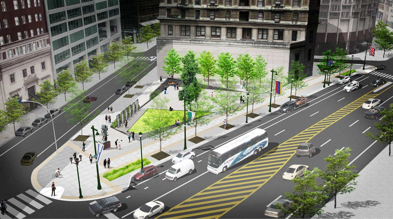 A rendering shows the proposed Holocaust Memorial Plaza at 16th Streets and the Benjamin Franklin Parkway.