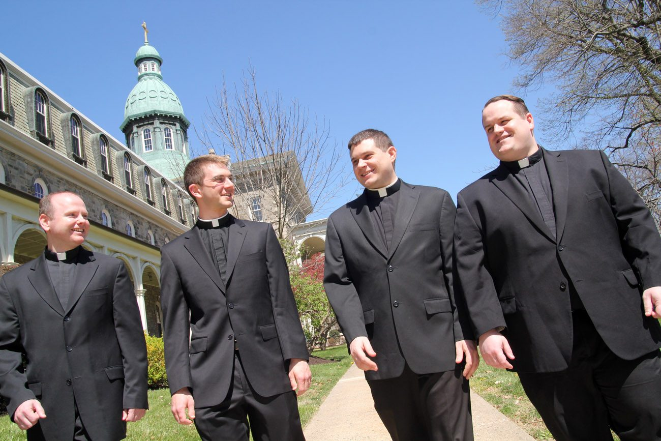 The four men to be ordained priests for the Archdiocese of Philadelphia on  May 21, shown this spring at their alma mater, St. Charles Borromeo Seminary, are (from left): Deacons Matthew Windle,  Matthew Biedrzycki, Thomas O'Donald and Mark Cavara. (Photo by Sarah Webb)