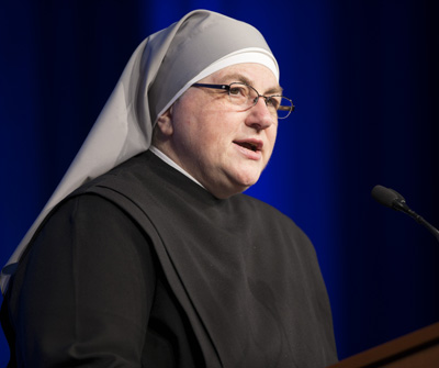 Sister Constance Veit, communications director for her religious congregation, the Little Sisters of the Poor, speaks at the National Catholic Prayer Breakfast May 17 in Washington. (CNS photo/Bob Roller)