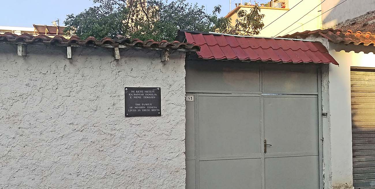 A plaque marks the home in Tirana, Albania where relatives of Blessed Teresa of Kolkata once lived. The ethnic Albanian founder of the Missionaries of Charity will  be canonized Sept. 4 at the Vatican. (CNS photo/James Martone)