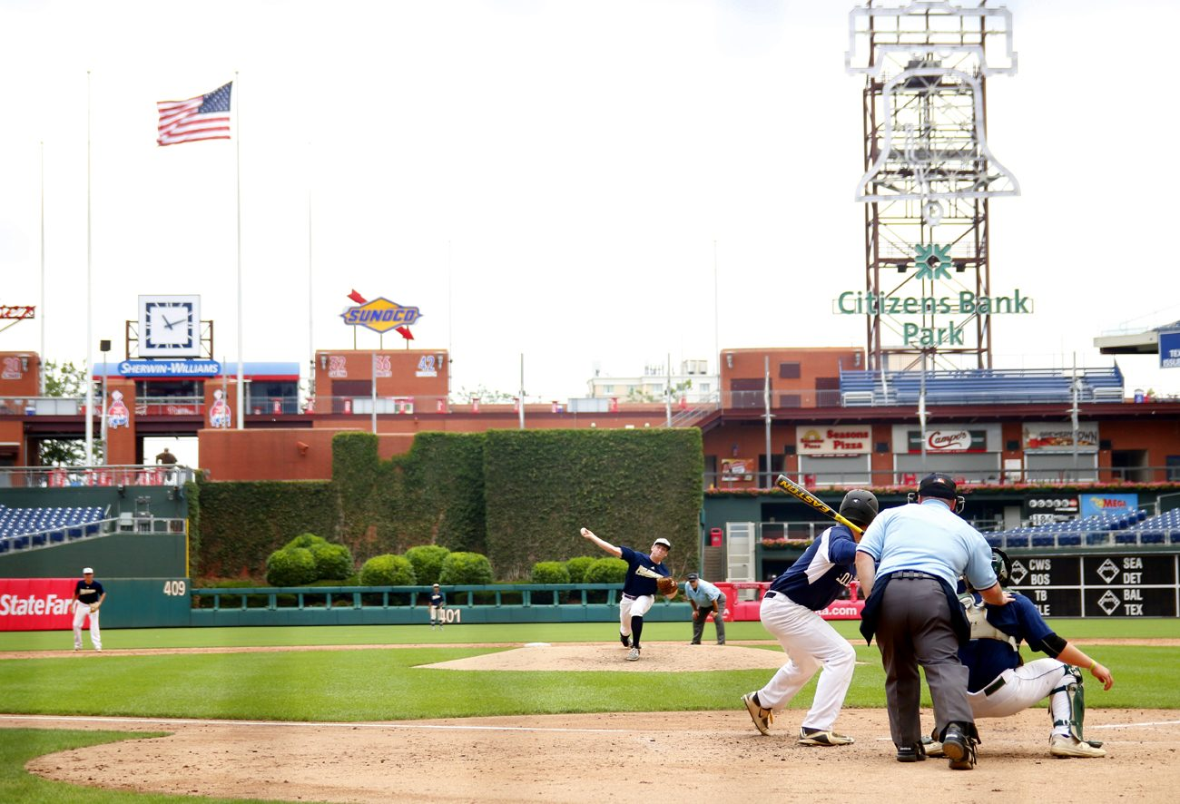 High school students competing in the 31st annual Carpenter Cup Classic get the thrill of a lifetime playing at Citizens Bank Park. The Philadelphia Catholci League team (shown playing defense) fell 3-2 to Suburban One American/Continental. (Photo by Sarah Webb)