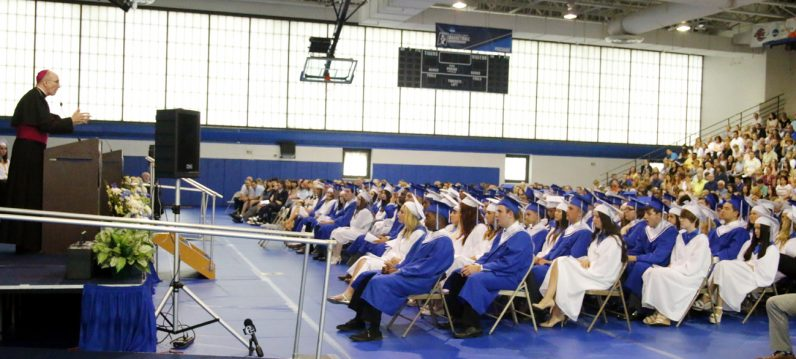 Bishop Timothy Senior addresses students from Conwell-Egan Catholic High School during their commencement exercise on Tuesday, June 7. (Sarah Webb)