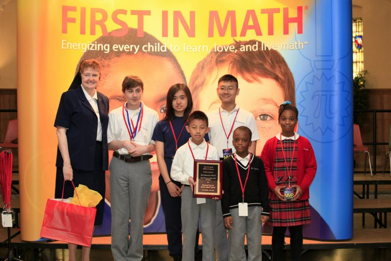 St. Laurence School in Upper Darby also competed successfully in First In Math this June. At the school during an award ceremony is school principal Sister MaryAnne Bolger, I.H.M., along with competing students of the school.