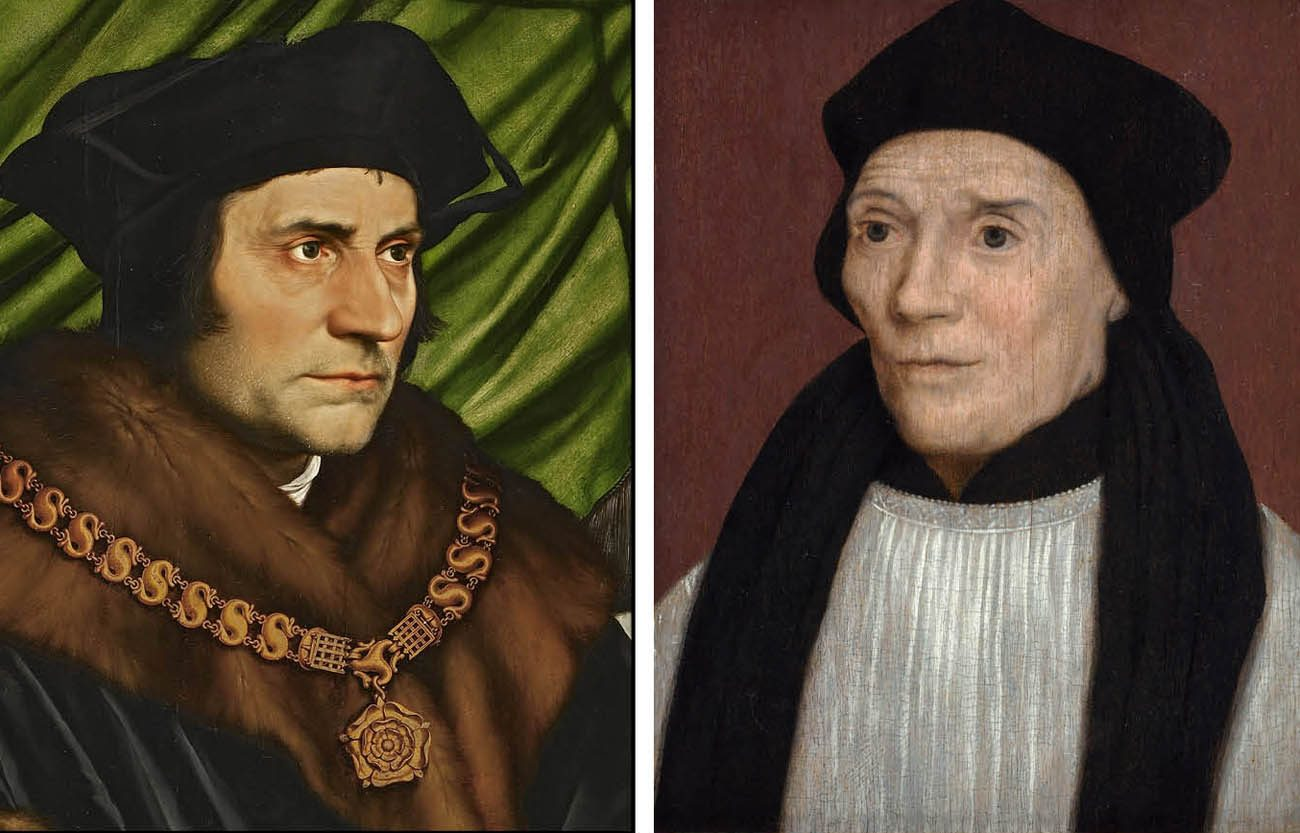 Paintings of Sts. Thomas More and John Fisher are seen in a composite photo. (CNS composite photo/Public domain)
