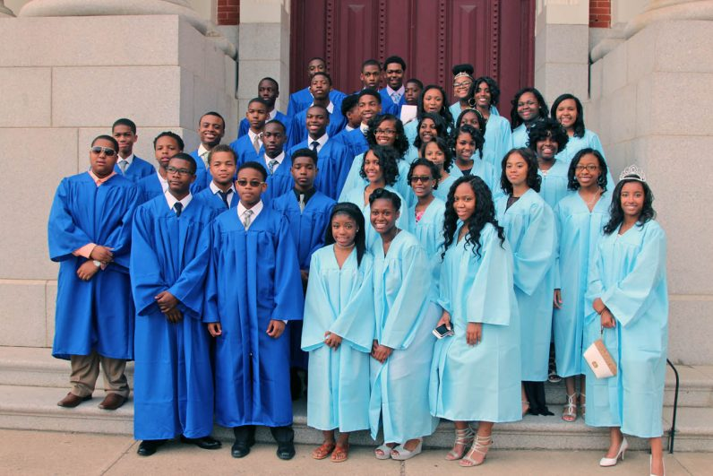 The class of 2016 poses at the Church of the Gesu in North Philadelphia.