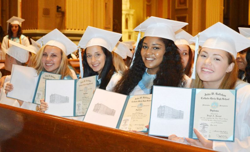 Young ladies from Hallahan proudly display their diplomas. (Courtesy photo)