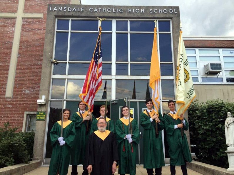 Students from Lansdale Catholic High School process from the steps of their school to St. Stanislaus Church for their baccalaureate Mass on Monday, June 6. (Courtesy photo)