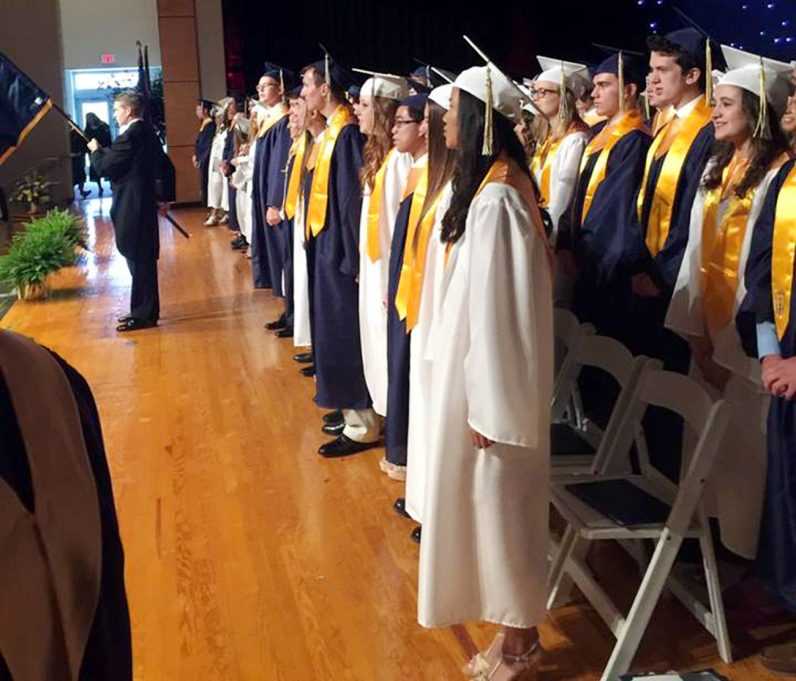 Graduates from Pope John Paul II High School complete commencement exercises at their school auditorium on Wednesday, June 8. (Courtesy photo)