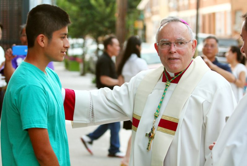 David Castellanos meets Archbishop Chaput after the prayer service.
