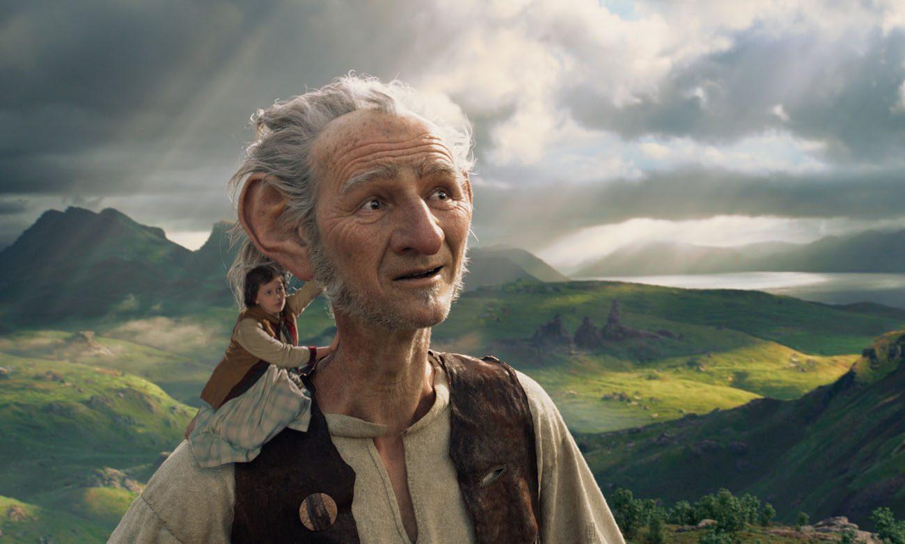 "Ruby Barnhill and the Big Friendly Giant, voiced by Mark Rylance, appear in the animated movie ""The BFG."" (CNS photo/Disney)"