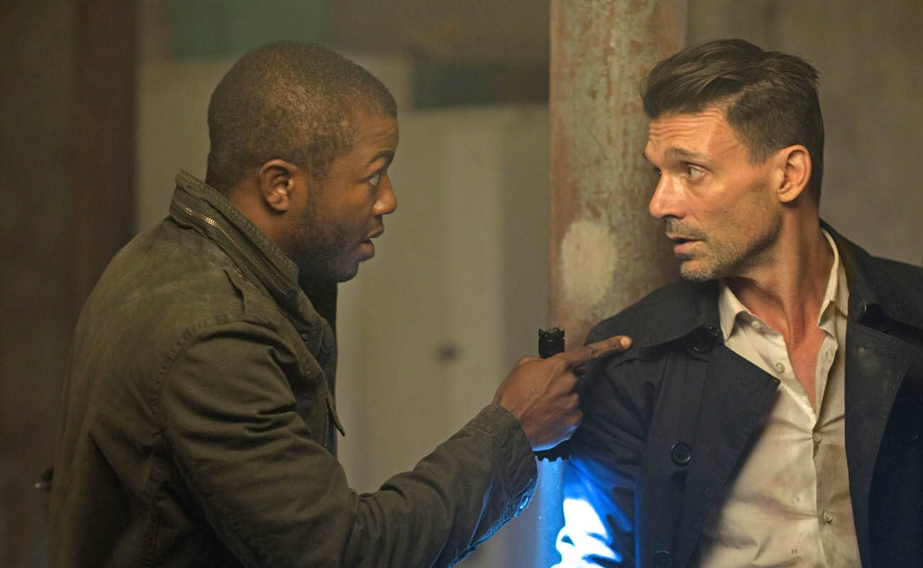 "Edwin Hodge and Frank Grillo star in a scene from the movie ""The Purge: Election Year."" (CNS photo/Universal)"