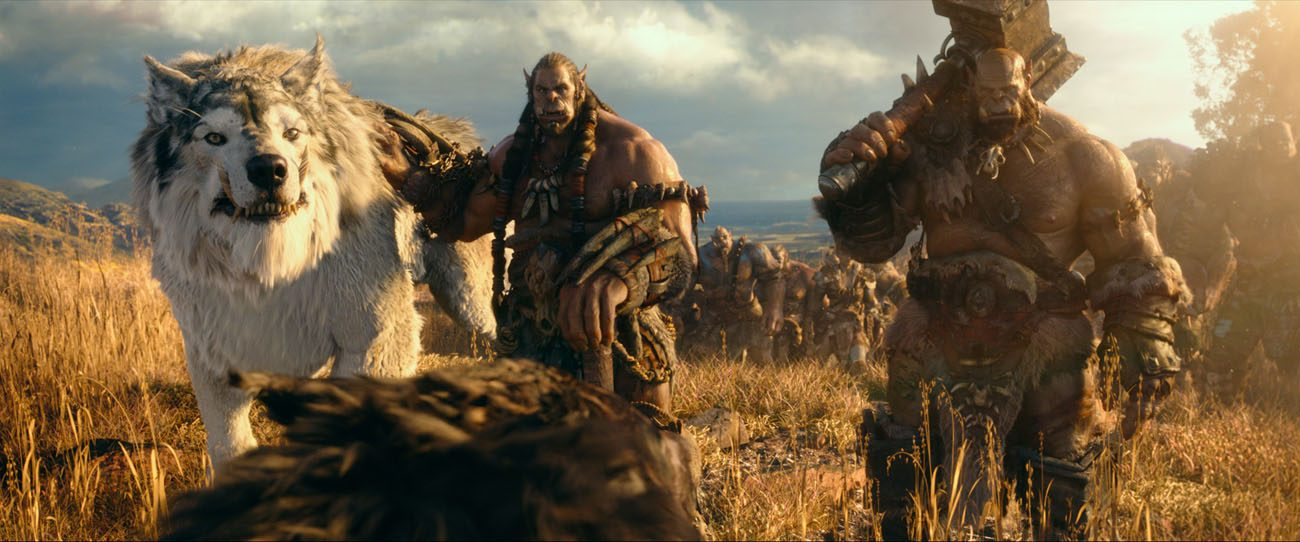 "Toby Kebbell, center, and Rob Kazinsky star in a scene from the movie ""Warcraft."" (CNS photo/Universal)"