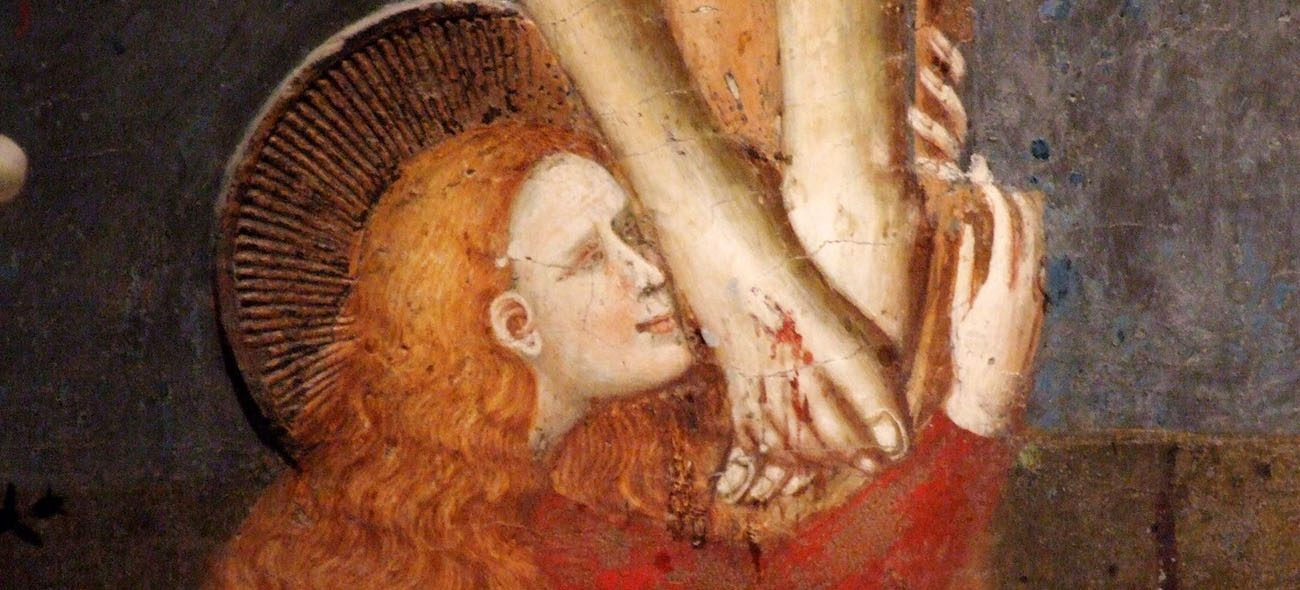 Detail of Mary Magdalene kissing the feet of the crucified Jesus, Italian, early 14th century, in the Cappellone di San Nicola, Basilica di San Nicola da Tolentino, Tolentino, Italy. (Public Domain)