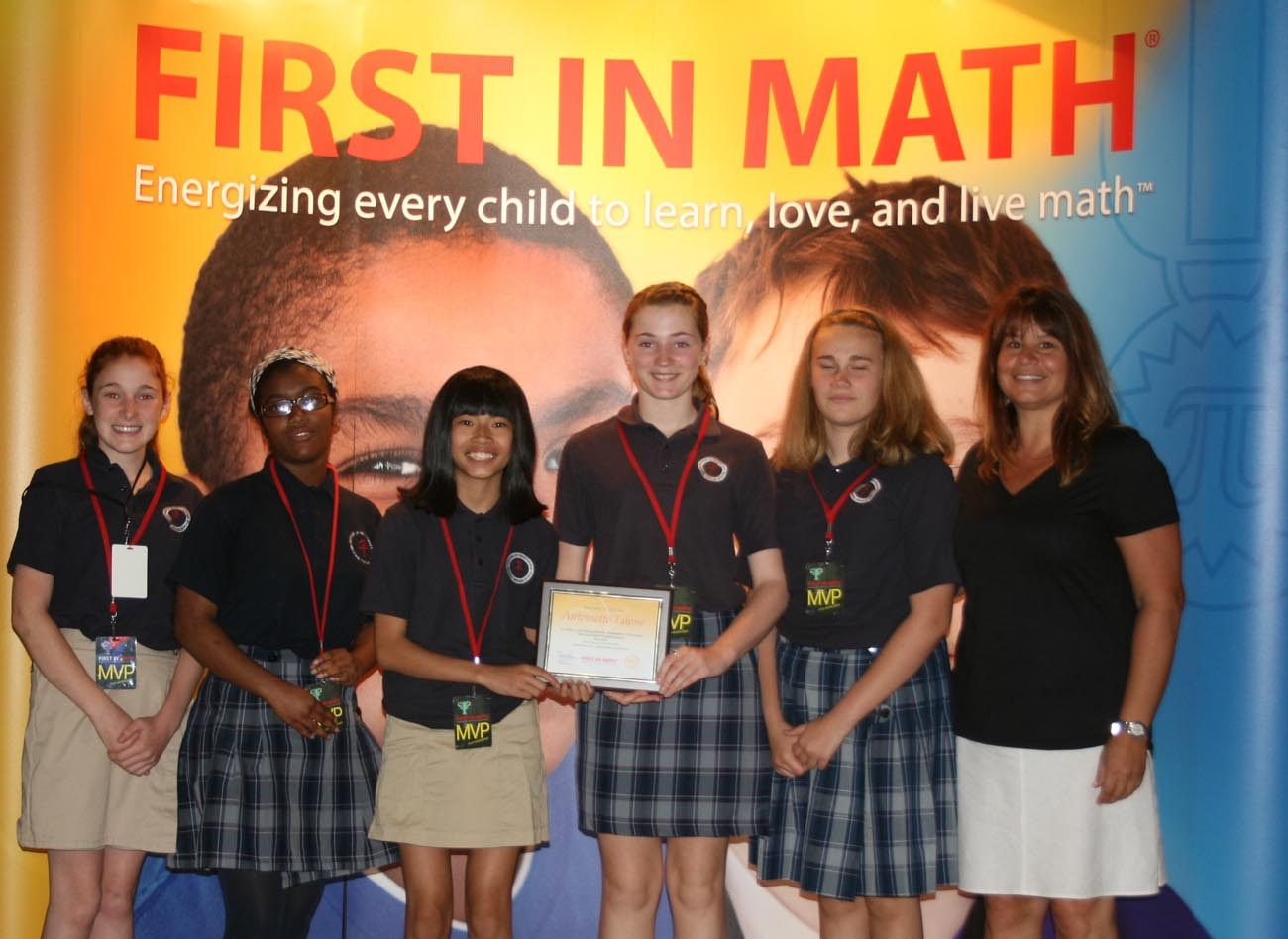 Pictured from left with their First in Math honors  are Mother of Providence Regional School seventh graders Amanda Shaughnessy, Kayla Taylor, Lily Bernard, Gianna Colletti, and Erin Gillin, along with seventh grade math teacher Antoinette Talone.