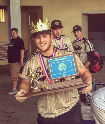 Senior first baseman Lou Testa, who recorded the final out of the season for the championship, knows it's good to be the kings of the PIAA's class AA division. (John Knebels)