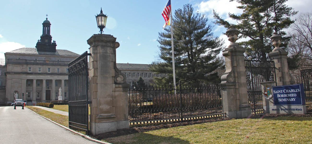 This file photo shows the main entrance and front of the College Division, or lower side, of St. Charles Borromeo Seminary, Wynnewood. (Photo by Sarah Webb)
