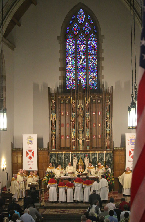 The interior of St. Andrew Church during the Liturgy of the Eucharist at the centennial Mass June 25, at which Archbishop Chaput was the main celebrant.