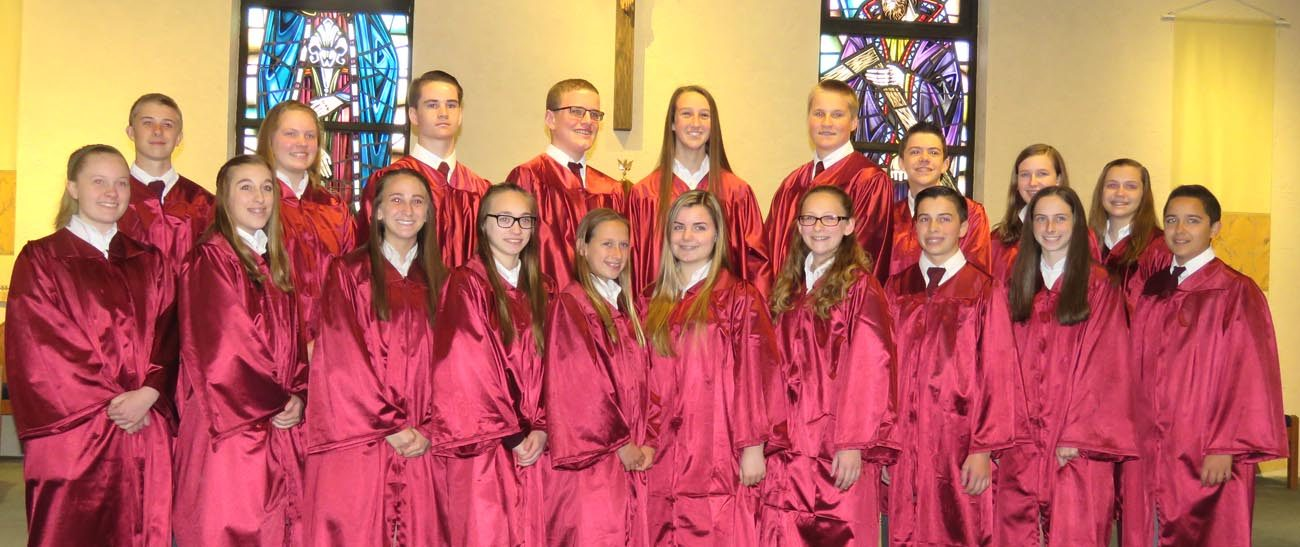 The graduating class of St. Joseph-St. Robert School in Warrington includes: (front row from left) Julia Schroeder, Isabella Balint, Amanda Messina, Gianna Radecke, Aimee Townsend, Kayla Emberson, Makenzy Sanford, Jake Butler, Mary Frattara and Joseph Aquino;   (back row, from left) Michael Waltrich, Kelly Schoener, Daniel Dutkiewicz, Matthew McGlinchey, Shannon McDevitt, Dylan Huegel, Andrew Dachowki, Nicole Chesla and Katlynn Razler.