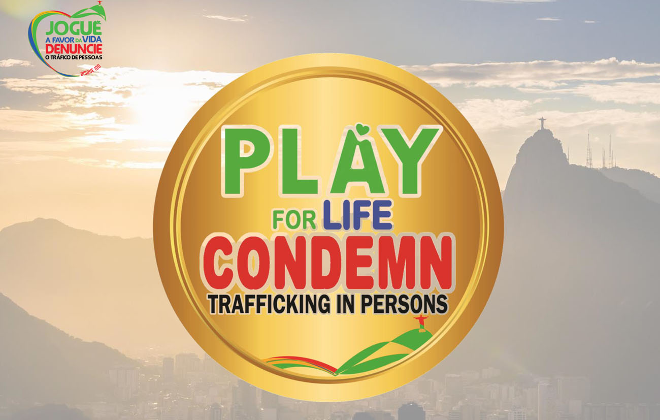This is the logo for the Play for Life campaign, which seeks to prevent human trafficking during the Summer Olympics in Rio de Janeiro Aug. 5-21. The campaign is sponsored by a Brazilian network of religious against human trafficking. (CNS photo/courtesy Play for Life campaign)