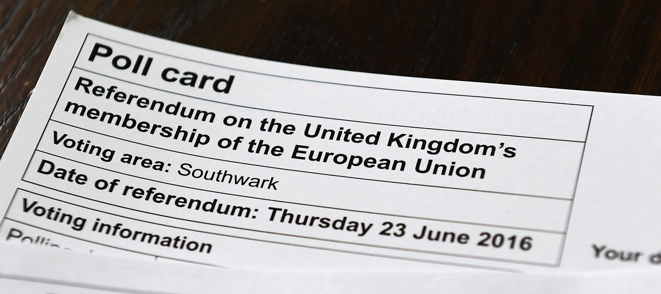 A poll card regarding the referendum on the United Kingdom's membership of the European Union is seen in London May 23. (CNS photo/Andy Rain, EPA)