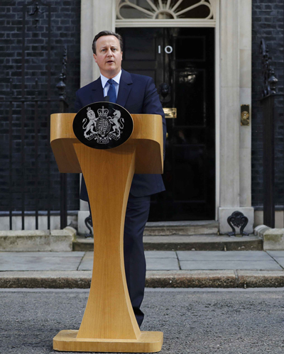 British Prime Minister David Cameron speaks in London June 24 after voters in the United Kingdom decided to leave the European Union the previous day. (CNS photo/Stefan Wermuth, Reuters)