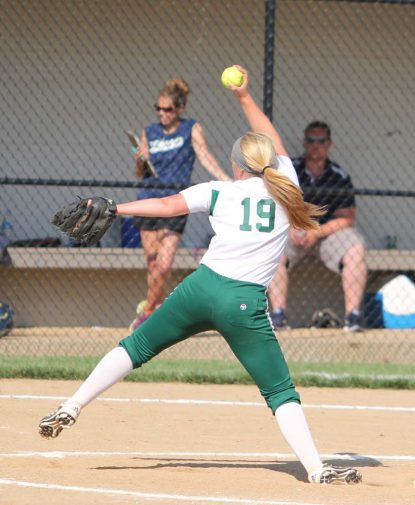 Devon Miller shows her winning form on the mound for Bishop Shanahan High School.
