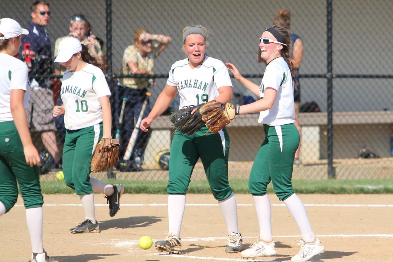 Devon Miller (no. 19, center) walks off the field with a smile and a win against Upper Merion in the PIAA District 12 softball semifinal game last month. She pitched a complete game shutout with eight strikeouts and drove in four runs with a single and a bases-loaded double in the 10-0 victory.