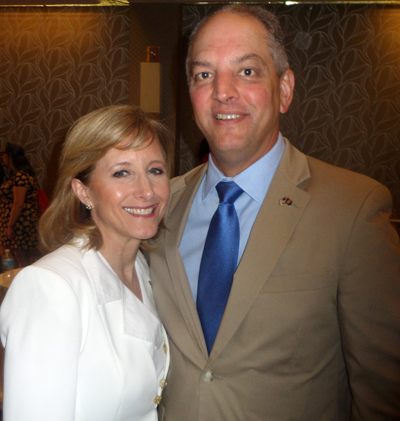 Louisiana Democratic Gov. John Bel Edwards and wife Donna attend an event of the Democrats for Life of America July 27 in Philadelphia (Lou Baldwin)